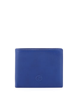 Giorgio Armani Vitello GA Logo Hip-Fold Wallet, Blue