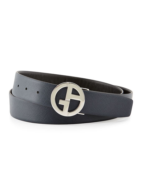 Reversible Saffiano Logo Belt, Black/Blue