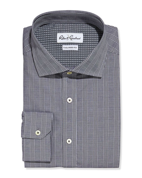Napoli Tailored-Fit Plaid Dress Shirt, Black