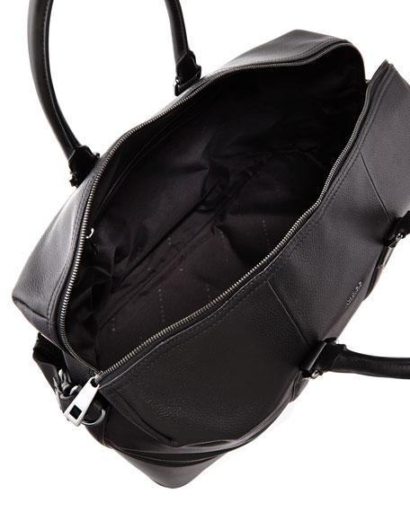 Macro Leather Weekender Bag Black