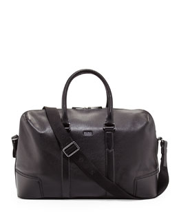 Boss Hugo Boss Macro Leather Weekender Bag, Black