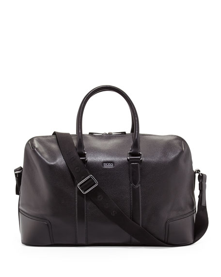 Macro Leather Weekender Bag, Black