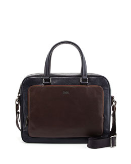 Boss Hugo Boss Malga Two-Tone Leather Briefcase, Navy