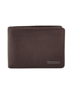 Boss Hugo Boss Logo Clip Leather Wallet, Brown