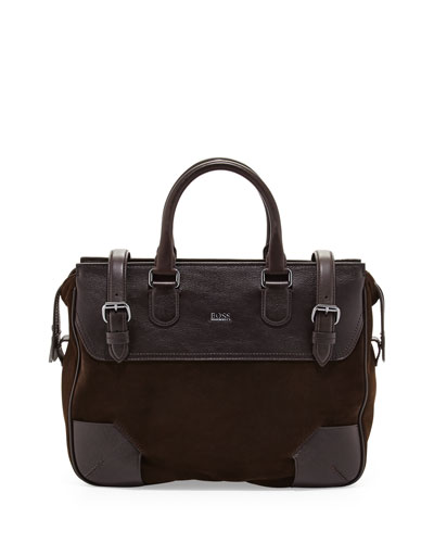 Sahel Leather Work Bag, Dark Brown