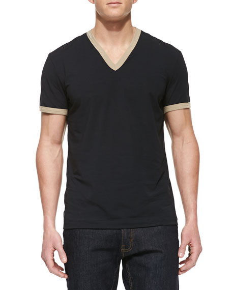 Ringer V-Neck Tee, Blue/Tan