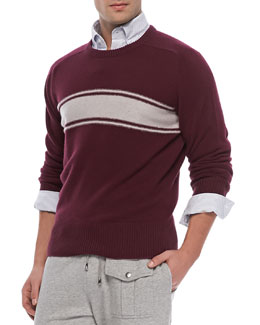 Michael Bastian Cashmere Striped Sweater, Burgundy