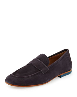 Boss Hugo Boss Sahamio Suede Penny Loafer, Navy