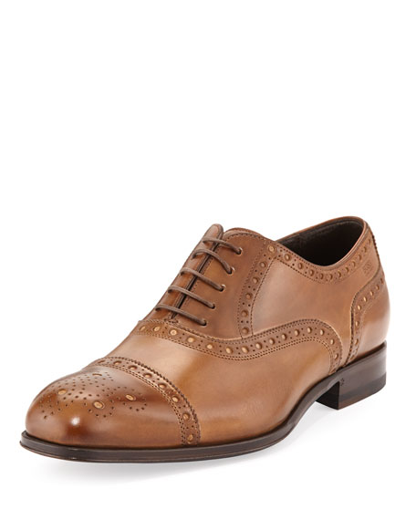 Capetis Leather Brogue Oxford Shoe, Open Beige
