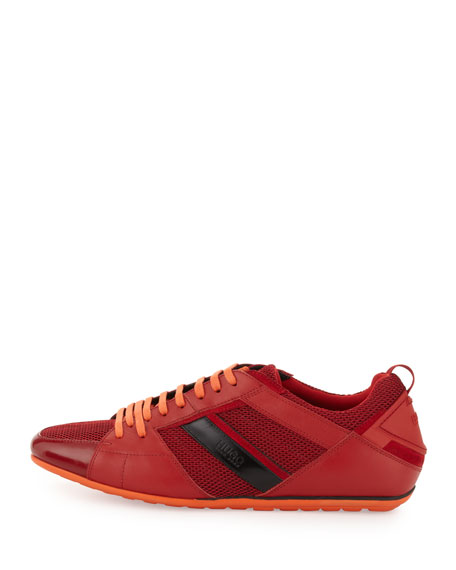 Tattion Mesh and Leather Low-Top Sneaker, Red