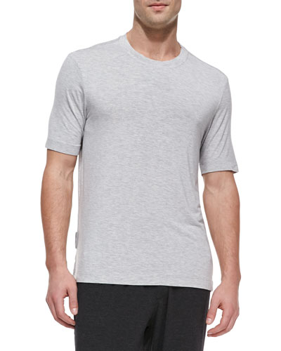 Stretch-Jersey Crewneck Tee, Gray