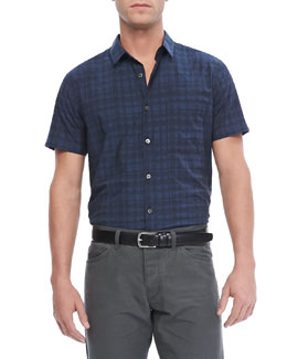 Theory Emer S Short-Sleeve Shirt in Rockton, Eclipse Multi