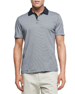 Theory Boyd Polo in Census Stripe, Eclipse