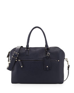 Valentino Rockstud Pebbled Leather Briefcase, Navy