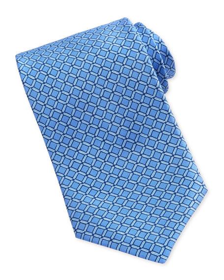 Square-Print Silk Tie, Blue