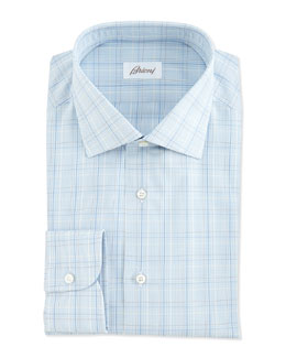 Brioni Woven Plaid Dress Shirt, Blue