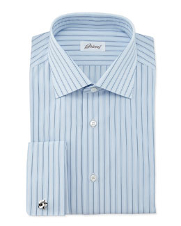 Brioni Striped French-Cuff Dress Shirt, Blue