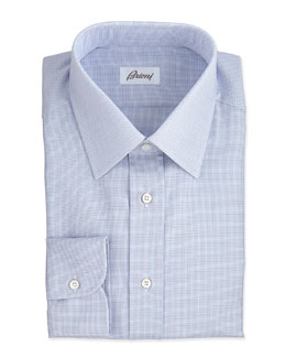 Brioni Micro-Check Dress Shirt, Blue/Brown