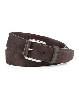 Brioni Crocodile-Trim Suede Belt