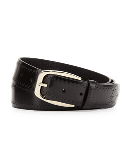 Brioni Calf Leather Perforated Belt, Black