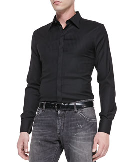 Dolce & Gabbana Shadow-Pinstripe Slim-Fit Shirt, Black