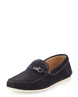 John Varvatos Star USA Schooner Clip Suede Loafer, Navy