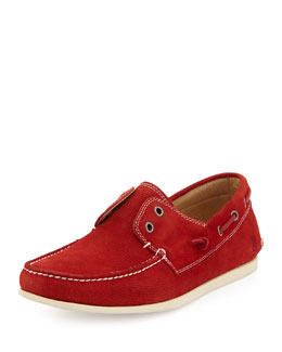 John Varvatos Star USA Schooner Suede Boat Shoe, Red