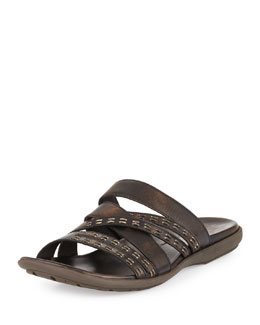 John Varvatos Star USA Tobago Stitched Slide Sandal, Brown