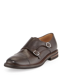 Brunello Cucinelli Leather Monk-Strap Loafer, Brown