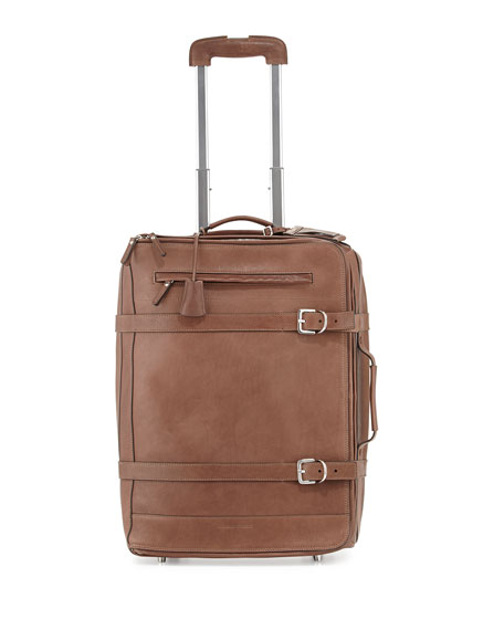 "18 1/2"" Leather Trolly Suitcase with Belts, Brown"