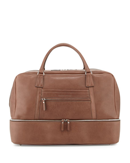 Leather Bottom-Compartment Duffel Bag, Brown