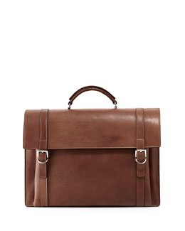 Brunello Cucinelli Aged Leather Flap Briefcase, Brown
