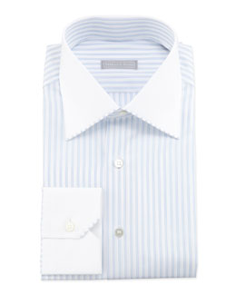 Stefano Ricci Striped Contrast-Collar Dress Shirt, Blue