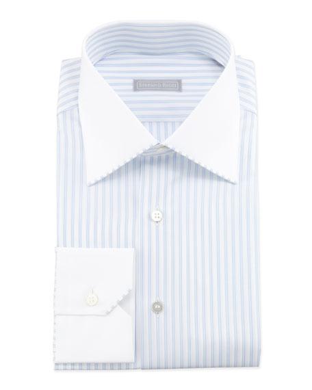 Striped Contrast-Collar Dress Shirt, Blue