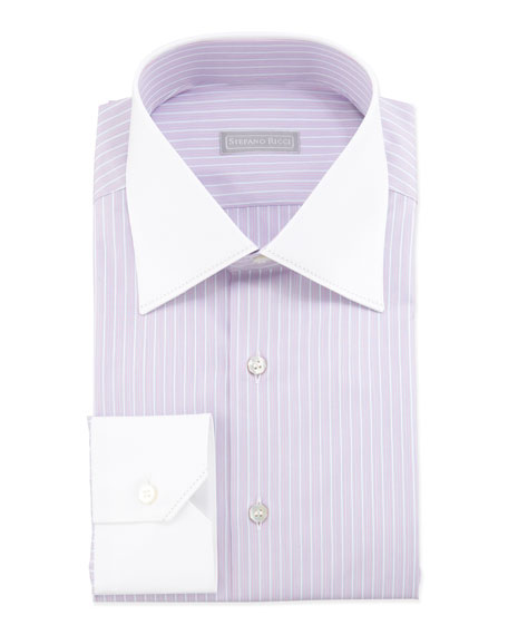 Stefano Ricci Multi-Striped Contrast-Collar Dress Shirt