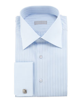 Stefano Ricci Tonal-Striped French-Cuff Dress Shirt