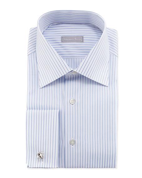 Thin-Stripe French-Cuff Dress Shirt, Blue