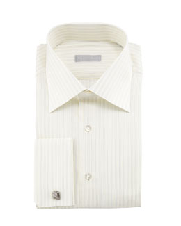 Stefano Ricci Double-Striped French-Cuff Dress Shirt
