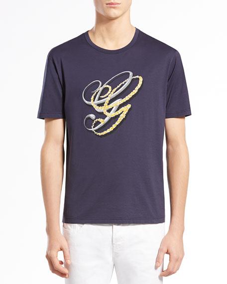 GG Print Jersey Tee, Navy/Gold