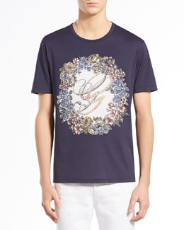 Gucci English-Wreath Print Tee, Navy
