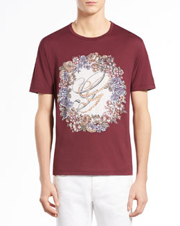 Gucci English-Wreath Print Tee, Wine