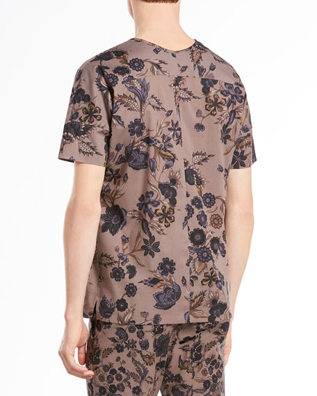 Floral-Print Silk-Twill Tee, Gray/Navy