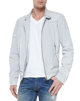 Diesel Lightweight Tech Biker Jacket, Gray