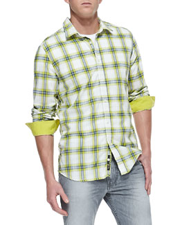 Diesel Yarn Dyed Plaid Button-Down Shirt, Green