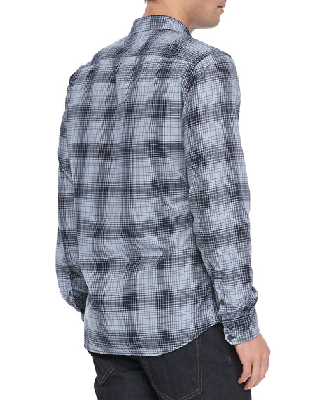 Checked Long Sleeve Shirt, Navy