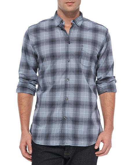 Checked Long Sleeve Shirt, Navy