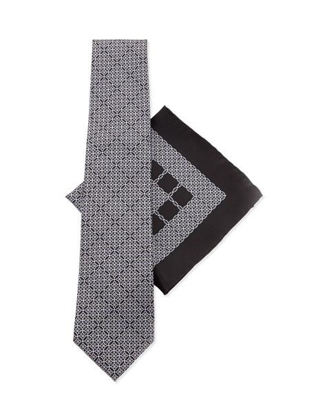 Stefano Ricci Silk Tie & Pocket Square Set, Black