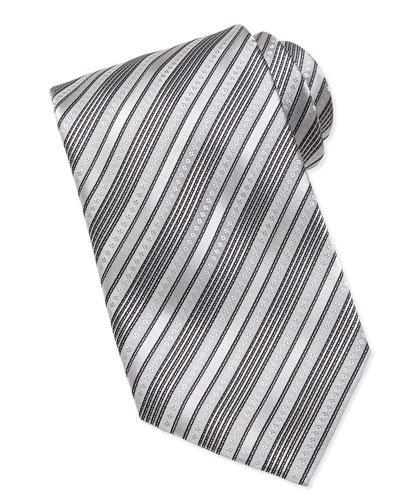 Stefano Ricci Multi-Stripe Silk Tie, Silver/Black