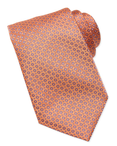 Stefano Ricci Micro-Medallion Silk Tie, Orange