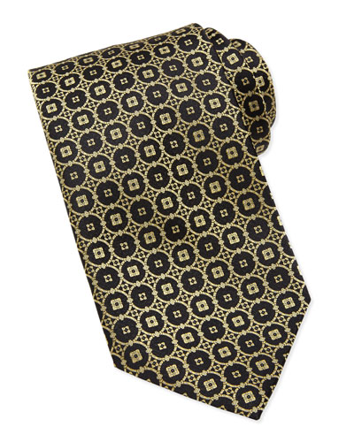 Stefano Ricci Circle-Medallion Silk Tie, Black/Gold